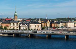 Фотографии Швеция Здания Река Мосты Стокгольм