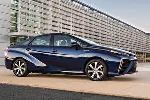 Картинки Toyota Синие Металлик Сбоку 2015 Mirai Автомобили