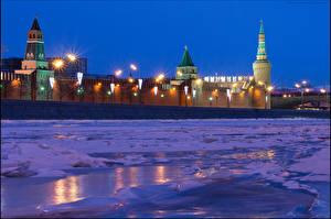 Картинки Москва Россия Реки Зима Снег Ночь Города