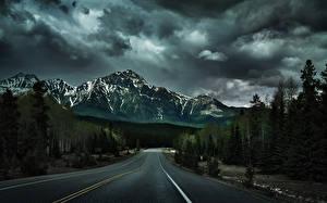 Фотографии Дороги Горы Асфальт Облака Дерево Природа