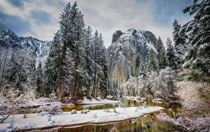 Картинки Времена года Зимние США Парк Река Гора Йосемити Дерево Природа