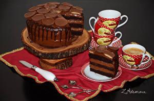 Картинки Сладости Торты Кофе Чашка Продукты питания