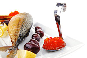Картинка Морепродукты Рыба Икра Лимоны Ложка