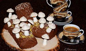 Обои Сладости Торты Грибы Кофе Чашка Продукты питания
