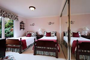 Картинка Интерьер Спальня Дизайна Кровать Подушки