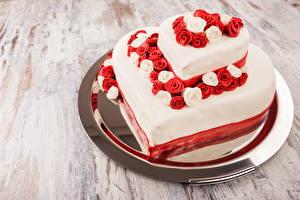 Фото Сладости Торты Розы День всех влюблённых Сердце Пища