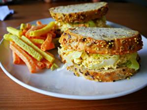 Картинка Быстрое питание Бутерброд Картофель фри