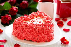 Фотография Сладости Торты Розы Праздники День всех влюблённых Сердечко Лепестки Пища