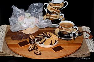 Картинка Выпечка Печенье Сладости Кофе Чашка Ложка