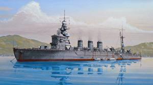 Картинка Корабли Рисованные Японские light cruiser Армия