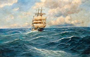 Обои Живопись Парусные Корабль Волны Облака Природа