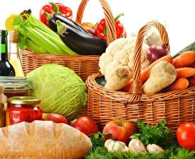 Обои Овощи Хлеб Капуста Морковь Перец Яблоки Корзина Пища