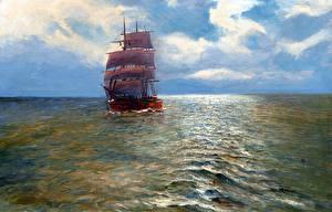 Фотография Живопись Парусные Корабль Облако Alfred Jansen Природа