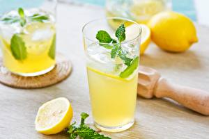 Фотографии Напиток Сок Лимоны Лимонад Лед Еда