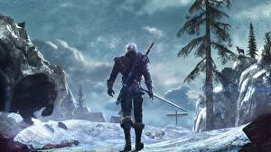 Картинки Ведьмак The Witcher 0: Wild Hunt Воины Геральт с Ривии Мечи z Rivii Фэнтези