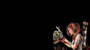 Фотографии Tomb Raider Tomb Raider 2013 Черепа Лучники Шлема Крови Лара Крофт Игры Девушки