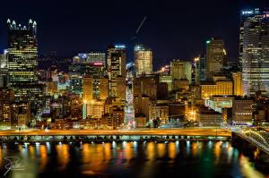 Картинки Штаты Здания Речка Питтсбург Ночь Пенсильвания город