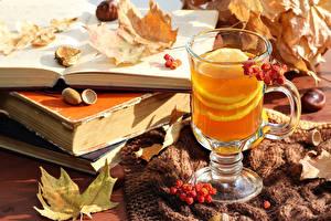 Картинки Напиток Чай Лимоны Стакан Книги Листья Пища