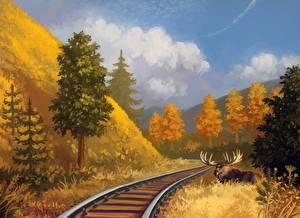 Фотография Рисованные Лоси Железные дороги Природа Животные