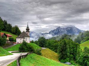 Фотографии Германия Пейзаж Храм Гора Дороги Дерево Seiden Природа