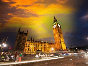 Фотографии Великобритания Здания Дороги Небо Лондоне Биг-Бен Ночь Города