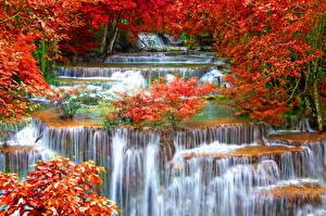 Обои Таиланд Времена года Осень Водопады Waterfalls Kanchanaburi Province Природа фото