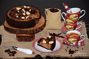 Картинка Сладости Торты Кофе Нож Чашка Тарелке Продукты питания