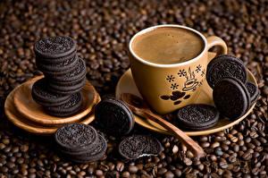 Обои Выпечка Печенье Кофе Чашка
