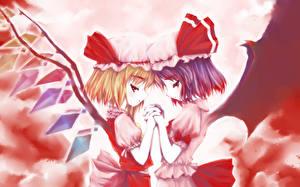 Картинки Touhou Collection Двое Крылья Шапка flandre scarlet, remilia scarlet Аниме Девушки