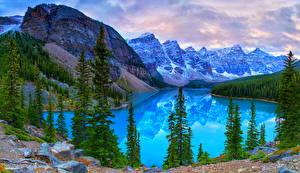 Фото Канада Парк Горы Озеро Пейзаж Банф Ели Moraine Lake Природа