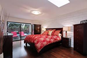 Фотография Интерьер Дизайн Спальня Кровати Подушка Ламп