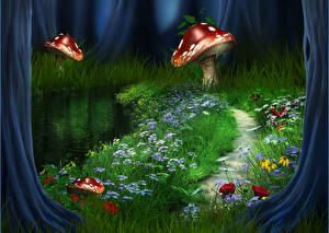 Фотографии Иллюстрации к книгам Грибы природа Трава Тропа Фантастика