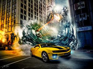 Картинки Трансформеры Битвы Chevrolet Робот Кино Фэнтези Автомобили