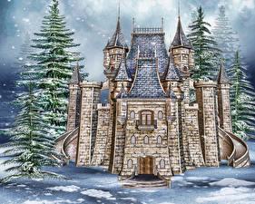 Картинки Замок Зимние Ель Снег Каменные 3D Графика