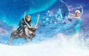 Фотографии Холодное сердце Disney Олени Снежинки Блондинки С рогами Elsa, Kristoff, Sven Мультфильмы Девушки