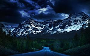 Картинки Дороги Горы Небо Облака Дерево Природа