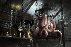 Картинка Свечи Чудовище Осьминоги Evil Octopus Фэнтези