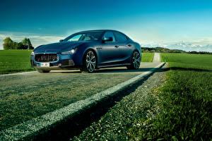 Фотографии Maserati Тюнинг Синий Роскошные 2014 Ghibli (Novitec Tridente) Автомобили