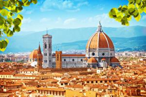 Фото Италия Дома Флоренция Собор Сверху Города