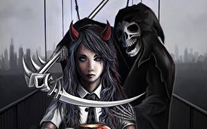 Обои Хэллоуин Черепа Смерть Коса (оружие) Скелета Капюшоне Школьница