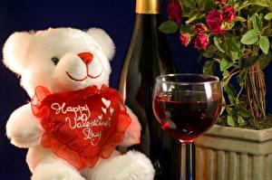 Картинки Праздники Игрушки Мишки Вино День всех влюблённых Бокалы Бутылка Сердце Продукты питания Цветы