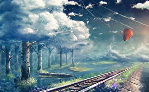 Фотографии Фантастический мир Железные дороги Небо Облака Воздушный шар Дерева Фэнтези Природа