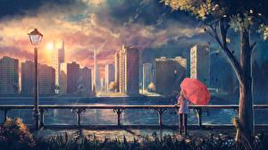 Фотографии Дождь Здания Речка Фантастический мир Уличные фонари Деревья Зонт Нью-Йорк Солнце Города Фэнтези Девушки