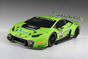 Картинки Ламборгини Тюнинг Желто зеленый 2015 Huracan GT3 Автомобили