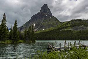 Картинка США Парки Реки Горы Ель Glacier Montana Природа