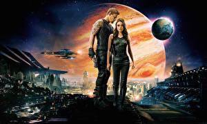 Картинка Воители Channing Tatum Мила Кунис Планеты Jupiter Ascending Кино Фэнтези