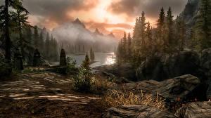 Фото The Elder Scrolls Скайрим Горы Леса Игры Природа 3D_Графика