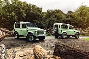 Фото Range Rover Вдвоем Салатовые Defender 90  Heritage машины