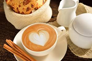 Обои Кофе Капучино Чашка Блюдце Сердце Latte art Еда фото