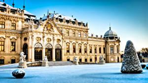Фото Австрия Замки Зима Снега Wien Belvedere город